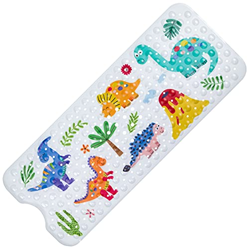 Alfombrilla Antideslizante Bañera 100 x 40CM, Alfombra de Baño para Niños, Dibujos Animados Extra Largo Alfombrilla de Baño con Ventosa para Bebés de Ducha para Bañera o Ducha(Dinosaurio)