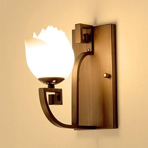 Lampada Vintage ferro battuto a parete, americano di vetro Sconce creativa Lotus Lampada da parete camera da letto lampada da comodino Cafe Teahouse hotel decorazione della lampada