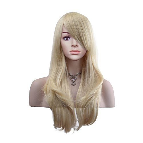 MeriCino Wigs 28'' Long Wavy Curly Wig Heat Resistant Cosplay Wig with Free Wig Cap for Women(Platinum Blonde)