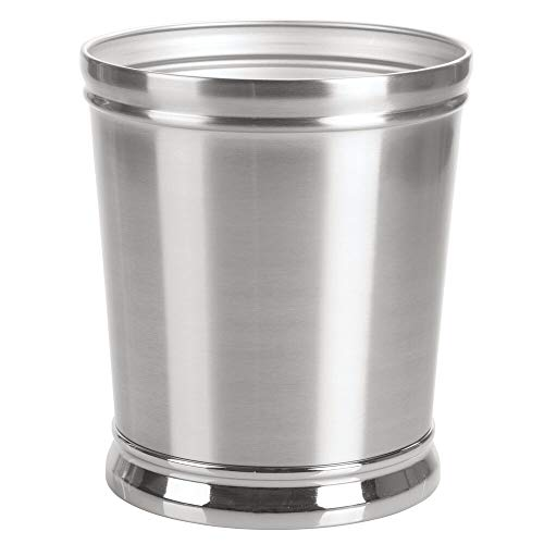mDesign Decorative Metal Round Small Trash Can Wastebasket, Garbage Container Bin - for Bathrooms, Powder Rooms, Kitchens, Home Offices - Durable Solid Steel, Non-Slip Base - Brushed/Chrome