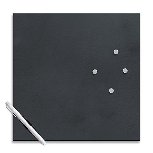 Eurographics Memo Board MB-BLACK3030 Magnet- und Schreibtafel aus Glas in schwarz (inklusiv Stift +...
