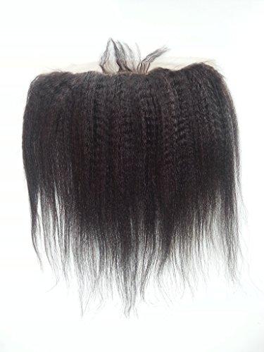 Longueur 20,3 cm 25,4 cm 30,5 cm 35,6 cm 40,6 cm 45,7 cm 50,8 cm cheveux 100% humains brésiliens dentelle fermeture frontal d'une oreille à Noir naturel raide & Kinky Curl