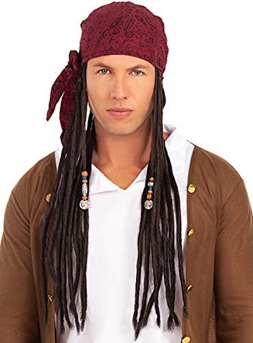 Funidelia | Peluca con pañuelo Pirata para Hombre y Mujer ▶ Corsario, Bucanero - Color: Negro, Accesorio para Disfraz - Divertidos Disfraces y complementos