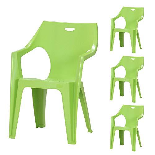 ガーデンチェアー クレタチェアー 4脚セット グリーン ( プラスチック 軽量 屋外 イス ガーデン チェアー クレタ イタリア製)