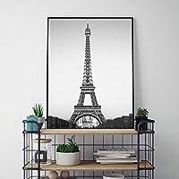 エッフェル塔の装飾キャンバス絵画ポスターフランスのパリの壁アートプリント白黒パリの風景写真壁の装飾50x70cmフレームなし