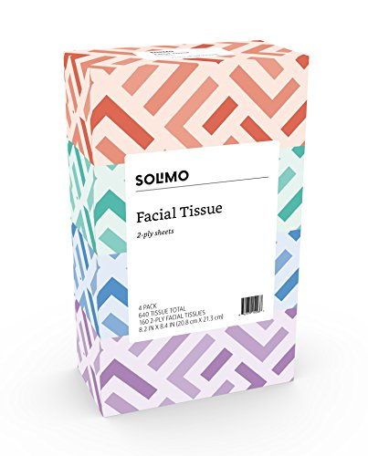 Amazon Brand  Solimo Facial Tissues 4 Flat Boxes 160 Tissues per Box 640 Tissues Total