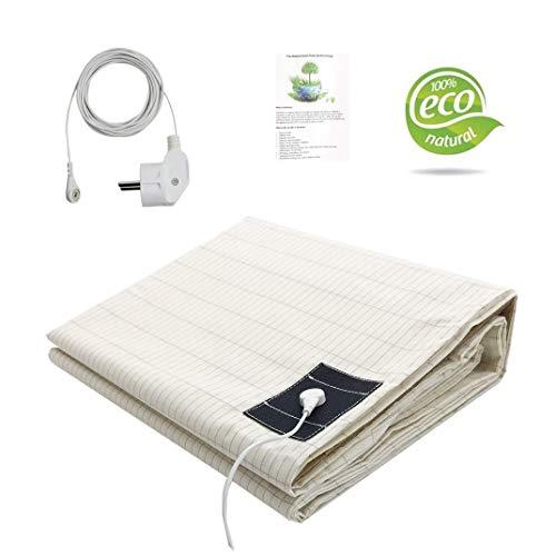 Erdungsbettlaken Erdungsmatte mit EU Erdungskabel für Besseren Schlaf EMF Schutz (100x203cm)