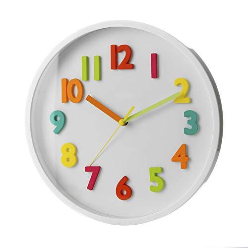 Reloj de Pared Infantil Blanco de plástico para Dormitorio Child - LOLAhome