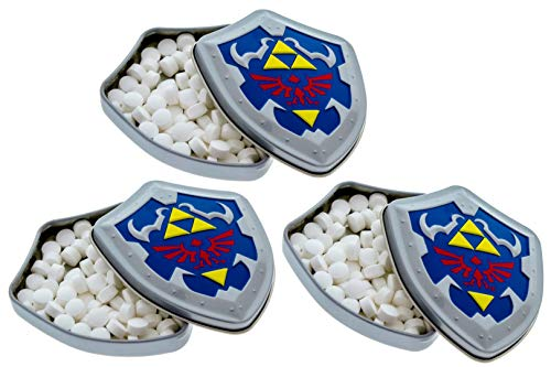 """Nintendo Zelda Mint Filled Tin - Link Shield Shaped Tins - Includes """"How To Build a Candy Buffet"""" Guide (3 Pack)"""