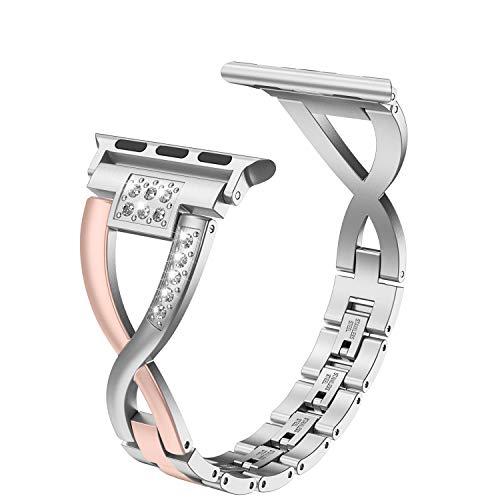 Wearlizer Bling Series 5 4 3 Gold Silver Compatible with Apple Watch Bands 38mm 40mm for iWatch 2-Color Tone Womens Replacement Stainless Steel Strap X-Link Rhinestone Wristband Dressy Metal Bracelet