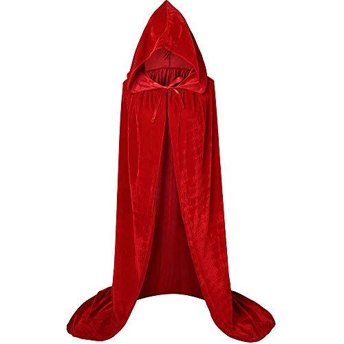 Largo Capa con Capucha Terciopelo Disfraz Halloween para Adulto Mujer Hombre Carnaval Navidad Fiesta