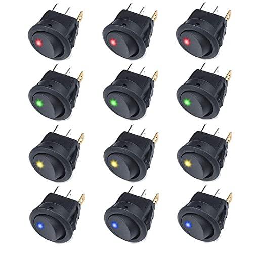 Interruptor basculante Ronda de balancín interruptor de palanca On Off Pulse el botón 12V 20A del coche camión basculante de conmutación con LED Panel Negro 12PCS, los controles y los indicadores