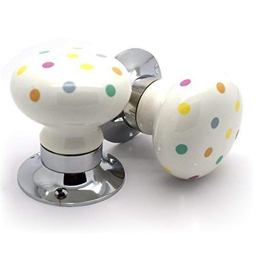 Pushka Home Paire de motif à pois Multicolore Céramique boutons de porte à mortaise à ressort interne tournant avec axe et vis