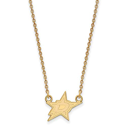 LogoArt SS 14k Yellow Gold Plated NHL Dallas Stars Small Necklace, 18 Inch