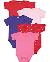 Rabbit Skins, Baby 5-Pack Soft Short- Sleeve Bodysuit, Sugar and Spice: Red/Pink/Purple/Red White Dot/Hot Pink, 6 Months