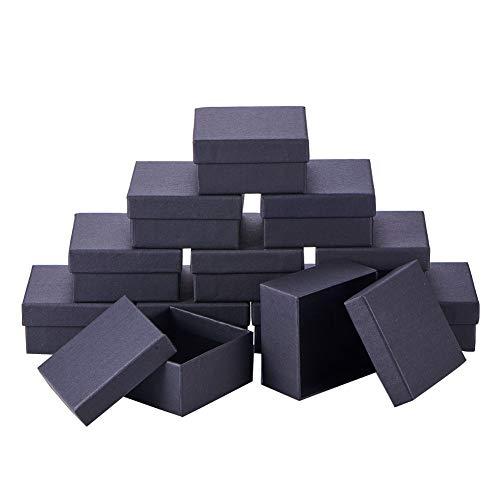 nbeads 12Karton Schmuck Set Box, Für Ring, Halskette, Quadratisch, 7×7×3,5cm Schwarz