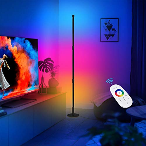 CRAZCALF Corner Floor Lamp, LED Corner Lamp RGB Color Changing Modern Minimalist Style Decoration, Dimmable LED Standing Lamp with Remote Control for Gaming Room, Living Room Bedroom, Circle Base