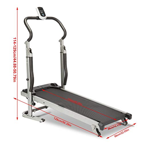 GOGOUP Folding Treadmill, Silent, Free Assembly- Manual Running Jogging Walking Machine for Health/Fitness/Exercise