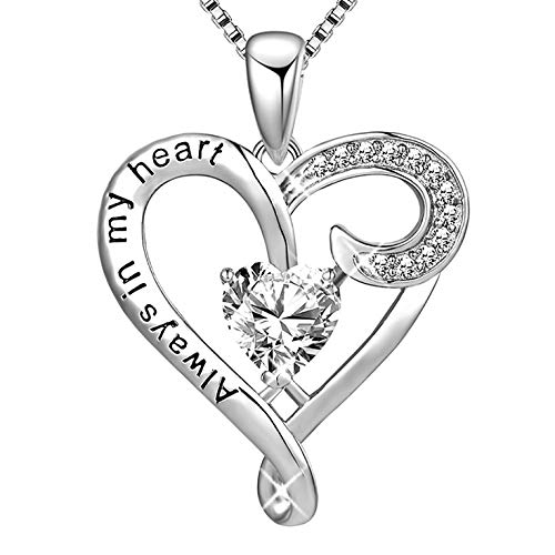 MUATOGIML 925 Sterling Silver Always in My Heart Love Heart Pendant Necklace Women Girlfriend Wife Jewelry Gifts