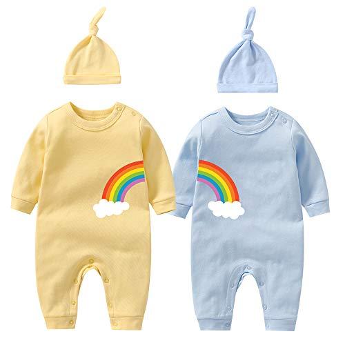 YSCULBUTOL Baby Twins Body Doble Arco Iris All The Way Bebé Cumpleaños Ducha Ropa Bebé Mameluco - - 0-3 meses