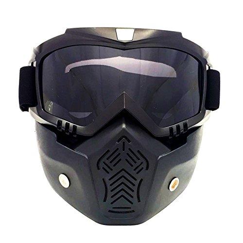 HCMAX Motocicleta Gafas de Protección con Máscara Facial Desmontable Estilo Harley Casco Equitación Gafas de Sol Regalo de San Valentín