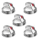 DG64-00473A Stainless Steel Burner Dial Knob Top Burner Control Replacement,for Samsung Range Oven Gas Stove Knob, NX58F5700WS Replaces DG64-00472A (5packs)