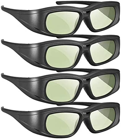 Elikliv 4 Pack Active Shutter 3D Glasses Rechargeable Bluetooth 3D Glasses Compatible with Epson product image
