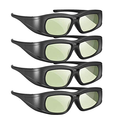 Active Shutter 3D Glasses 4 Pack, Rechargeable Bluetooth 3D Glasses Compatible with Epson 3D Projector, TDG-BT500A TDG-BT400A TY-ER3D5MA (Pack 4)