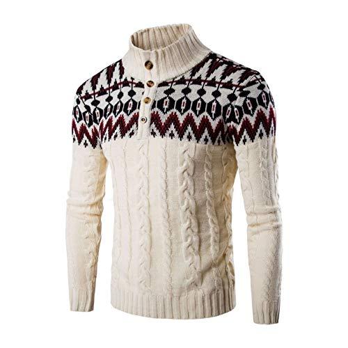 CFWL Vestiti Invernali Giacca Casual Maglione Etnico Coordinato da Uomo con Fiocco di Neve di Natale Giacca in Pile con Cerniera Piumino Leggero Idrorepellente Ripiegabile Beige XL
