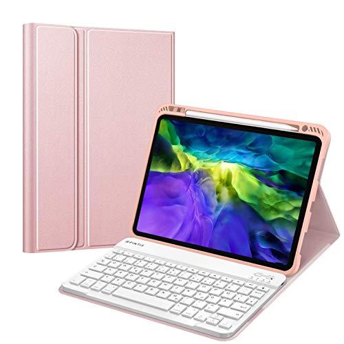 Fintie Tastatur Hülle für iPad Pro 11 Zoll 2020 & 2018, Soft TPU Rückseite Gehäuse Schutzhülle mit Pencil Halter, magnetisch Abnehmbarer Bluetooth Tastatur mit QWERTZ Layout, Roségold