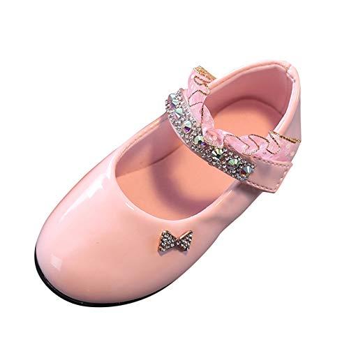 Topgrowth Scarpe da Bambina Pelle Eleganti Ballerina Ragazze Casuale Scarpe da Principessa Danza Sneaker (30, Rosa)