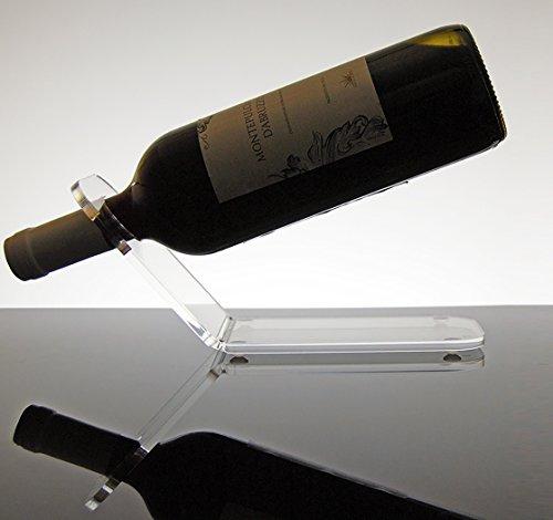 Slato Portabottiglie Porta Bottiglie da Vino da banco in plexiglass Trasparente Gemma per 1 Bottiglia