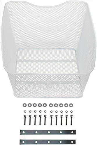 P4B Hinterradkorb Fahrradkorb Schultaschenkorb Modell Schoolbag XXL zur Festmontage | engmaschiger, Weiss
