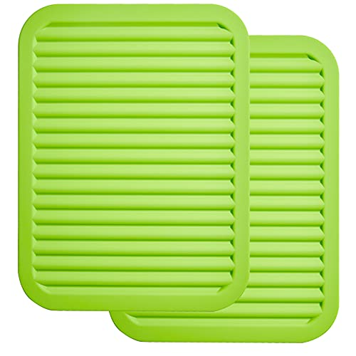 ME.FAN Silicone Trivets - 9 x 12 Silicone Potholder [2 Set ] Silicone Pot Holders - Spoon Rest - Kitchen Table Mat - Hot Pads - Large Coasters (Green)