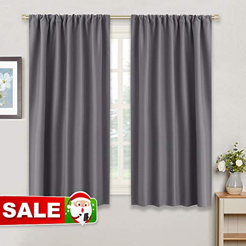 "Gray Blackout Curtains for Kitchen - RYB HOME ( 42"" W by 45"" L, Grey, Set of 2 ) Thermal Insulated Noise Reducing Rod Pocket Slot Top Small Draperies Window Treatments Home Decoration for Bedroom"