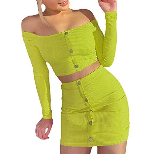 junkai Completi alla Moda Arancione Brillante Set Donna Bottoni Maniche Lunghe Crop Top Sexy 2PCS Set Gonne Aderenti Casual