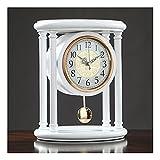 XGJJ Reloj de péndulo vintage de madera maciza de escritorio reloj silencioso retro estilo chino decoración del hogar funciona con pilas sala de estar cocina oficina estudio
