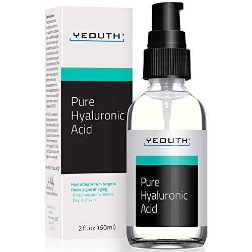 Suero Ácido Hialurónico Facial YEOUTH - Fórmula 100% pura para el antienvejecimiento! (2oz)