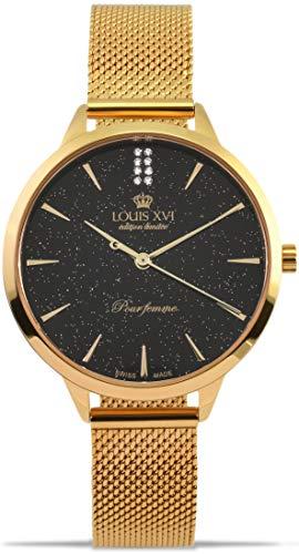 LOUIS XVI Dauphiné 1029 - Reloj de pulsera para mujer (correa de acero, analógico, cuarzo, malla de acero inoxidable), color dorado y negro
