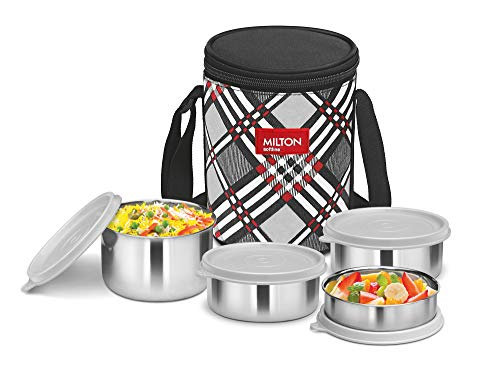 Milton Smart Meal Insulated Lunch Box, Set of 4, Grey Stainless Steel