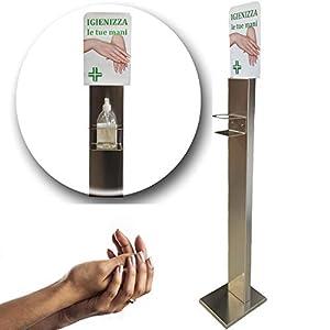 Colonnina Igienizzante Mani MADE IN ITALY   Piantana Dispenser Disinfettante   Erogatore Gel in Acciaio INOX   Robusta e pratica
