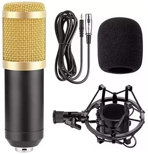 Microfone Estúdio Profissional Condensador BM-800 Dourado