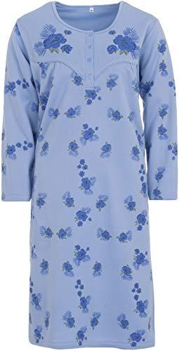 LUCKY Nachthemd Damen Thermo Langarm Blumen Winter Knöpfe Größe M L XL XXL, Größe:M, Farbe:Blau