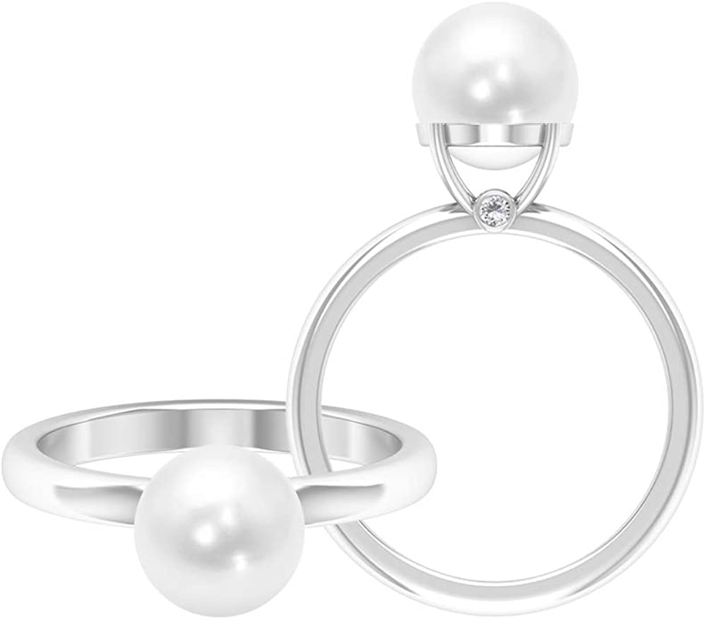 4 CT Solitaire Fresh Water Pearl Ring, 1.5 MM D-VSSI Moissanite Ring, Gold Engagement Ring (8 MM Round Shaped Fresh Water Pearl), 14K Gold