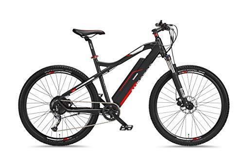Telefunken M920 Elektrische mountainbike, aluminium, 9-speed Shimano derailleur - Pedelec MTB 27,5 inch, achterwielmotor 250 W, schijfremmen, antraciet/rood, opstijger