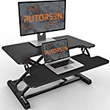 Standing Desk Converter with Height Adjustable – PUTORSEN 28 inch Stand Up Desk, Ergonomic Sit Stand Dual Monitor and Laptop Riser Tabletop Workstation, Wide Keyboard Tray Black