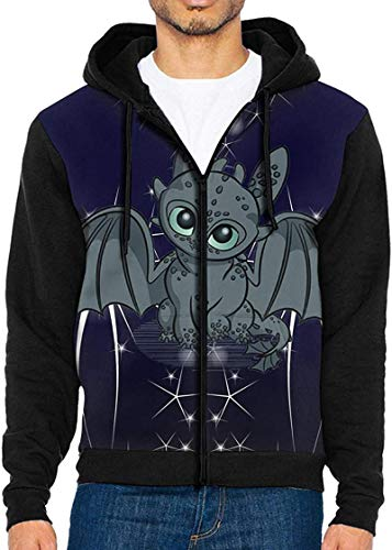 Baby Dragon Fleece Graphic Hooded Men's Casual Pullover Hoodie Hiking Full Zip Sweatshirt for Mens Xx-Large,Black,S