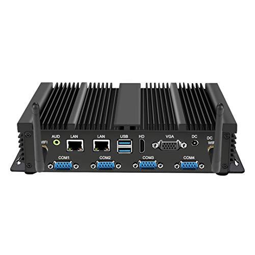 Mini ordenador sin ventilador, PC de escritorio industrial con i3-4005U, 8GB RAM, 128GB SSD, Dual NIC, 6xCOM RS232, Intel WiFi, soporte de pantalla doble, Win10 Pro (4G+128G, i3-4005U)