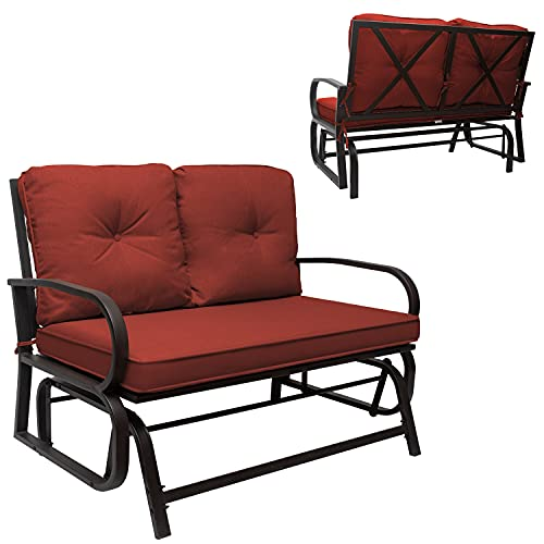Outdoor Patio Glider Rocking Bench, Patio Glider Bench Loveseat, Outdoor Swing Glider Rocking Chair Patio Bench for 2 Person, Garden Loveseat Seating Patio Steel Frame Chair Set with Cushion (Rust)