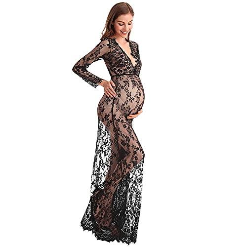 WDYD Vestido de Maternidad Gown,vestido de Encaje para Embarazadas, para Sesiones Fotográficas(Size:S,Color:Negro)